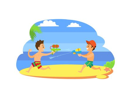 Kids playing with guns loaded with water vector, children on summer vacations. Fighting by aqua boys at coastline, vector happy kids at seaside having fun