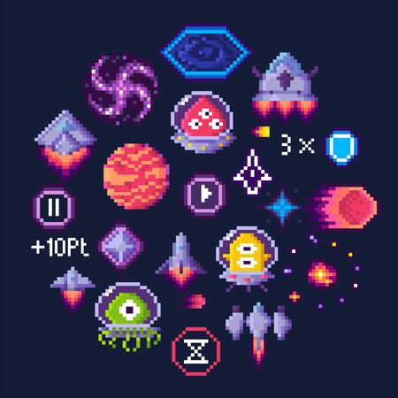 Pixel game icons vector, planet and spaceship, aliens in uniforms. Hourglass and button, transport and black hole, pixelated points and shield sign with number Illustration