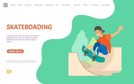 Skateboarding person vector, male in special park for skateboarders to practice. Boy wearing cap with skateboard jumping in air making tricks. Website or webpage template, landing page flat style