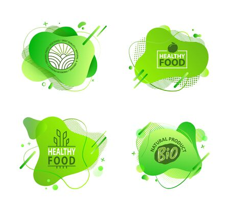 Fresh vegan food label, green poster natural and herbal product, 100 percent organic, healthy product, set of emblem, market sticker vector. Menu logo on green abstract watercolor lable