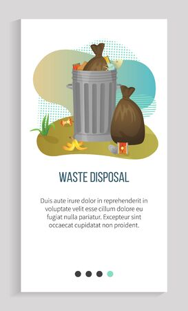 Waste disposal, tank of garbage, bin filled with waste bags, organic and metal objects, global problem of planet, pollution and recycling vector. Slider for ecology app, save planet. Earth day