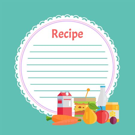 Empty recipe book in blue color, round white list with lines. Box and bottle, carrot and sandwich, honey and apple with pear, circle clean note page vector