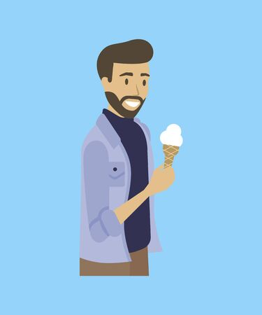 Bearded man with ice-cream isolated cartoon character on blue. Vector smiling sexy with sweet summer dessert, portrait view of male in jeans jacket