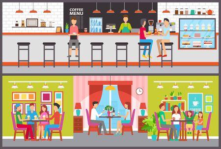 Mostrador y mesas en vector de cafetería y bar o cafetería. Bartender o barista y visitantes, postres en escaparate, familiares y amigos comiendo fuera