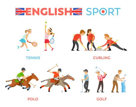 English sport vector, tennis and polo, golf and curling competition among people flat style. Boys and girl leading active lifestyle, animal horses Illustration