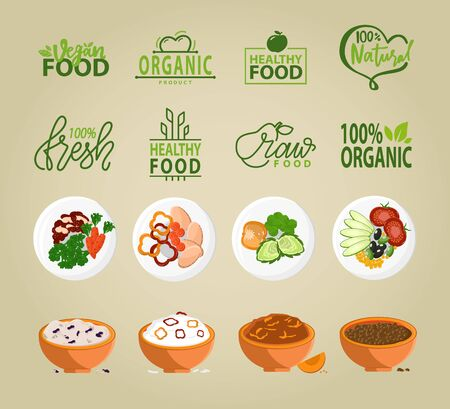 Fresh food and ingredients vector, bowls with prepared meal, paprika and cucumber, carrot and tomato, bell pepper and spices, eco logotypes healthy dishes. Vegan healthy food menu