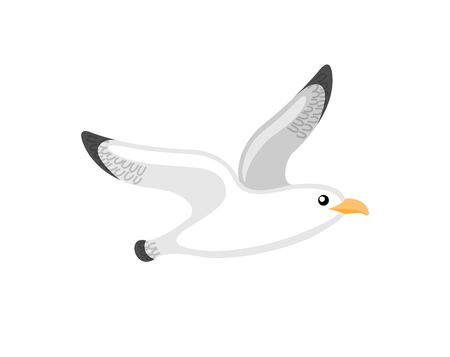 Flying seagull, little bird with black and white plumage. Single animal on white, cartoon of atlantic seabird, stylized nautical gull emblem vector Ilustracja