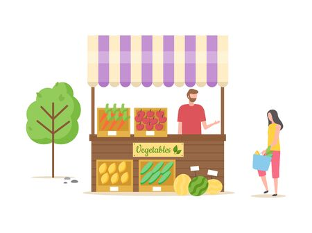 Man selling vegetables and fruits at kiosk stand vector, male with meal ripe carrots and watermelon laying on shelves boxes lady with bag talking to seller