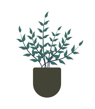 Flowerpot with growing plant in soil vector, isolated flower with foliage and branches. Botany flora for home decoration, potted plantation, greenhouse