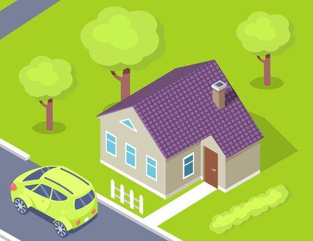 Maison et voiture, vue 3d du bâtiment décoré par des fenêtres, porte et toit avec cheminée, cour verte, arbres en plein air, voiture garée près de la maison, vecteur de chalet Vecteurs