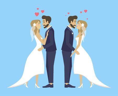Matrimonios, novios y novios besándose y abrazándose, abrazar a personas tiernas mujeres y hombres.