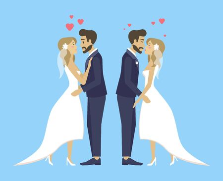Double wedding, brides and grooms kissing and hugging, cuddling persons tender females and males.