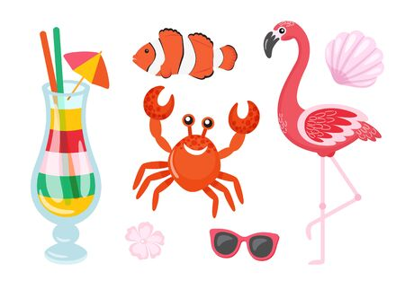 Flamingo bird, crab and seashell, isolated set.  イラスト・ベクター素材