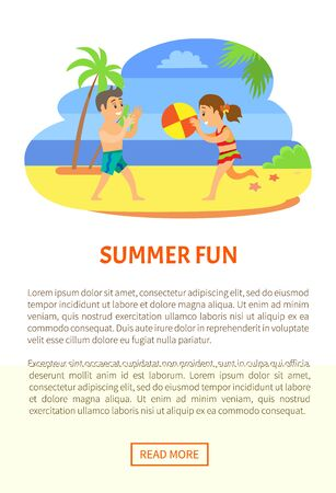 Summer fun, kids in swimsuits, playig beach game. Boy and girl throwing ball, children in swimwear vector, summertime and holidays on seaside, characters. Website or webpage template, landing page Standard-Bild - 126042024