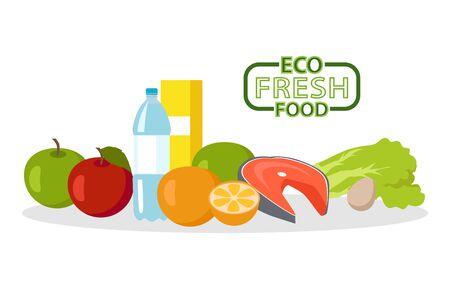 Comida fresca ecológica Ilustración de vector