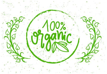 Organic food simple label on grunge background with tree branches. Vector 100 percent guarantee isolated green creative logo in round frame, greenery and leaves