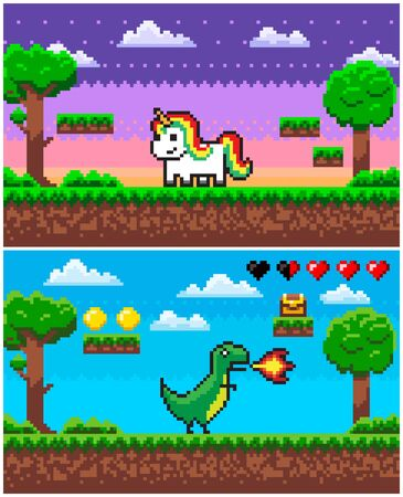 Unicorn and dinosaur characters vector, pixel game with players and icons, health life points, treasure in casket, coins points for score 8 bit graphics, pixelated app games animals Illustration