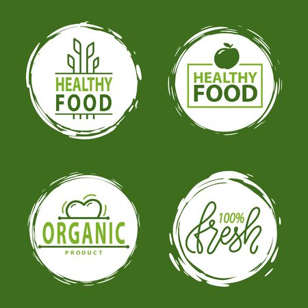 Fresh vegan food label, green poster natural and herbal product, 100 percent organic, healthy product, set of emblem, market sticker vector. Menu logo on white abstract watercolor lable Illustration