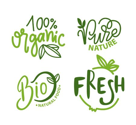 Organic food vector, 100 percent of natural ingredients set of isolated emblems and logotypes. Logo with inscription and plants foliage and flora