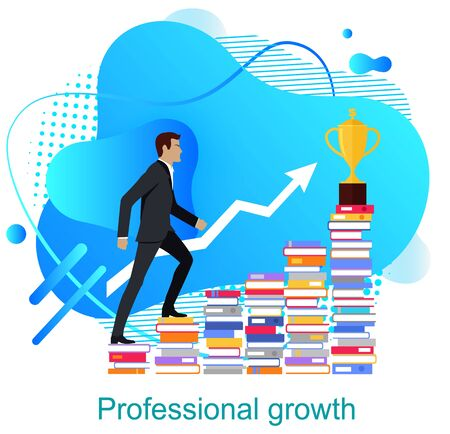 Personal growth vector, man walking up on books, development of skills and abilities, road to success and wealth. Businessman wearing suit colorful design Banco de Imagens - 126079330