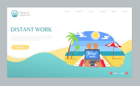 Distant work of person lying on chaise lounge with ocean view, freelancer using laptop on beach, palm tree and parasol, wireless device online vector. Website webpage template, landing page flat style