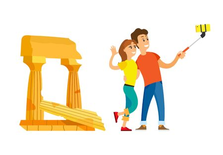 Traveling people vector, man and woman taking selfie. Couple with smartphone, relaxation on tourist attraction, pillars and ancient building architecture