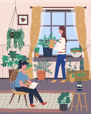 Interior of room with plants vector, woman sitting on chair reading book, lady with watering can caring for plants growing in pots. Home of people