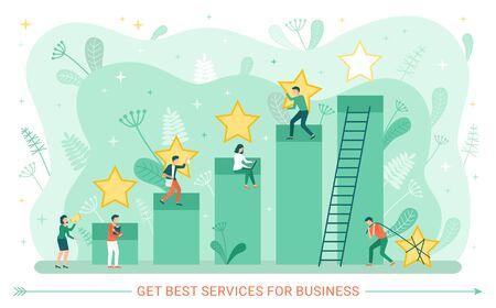 Bester Service-Vektor, Mann und Frau, die hart an der Geschäftsentwicklung arbeiten, sie besser machen, Diagramm mit Sternen aus Gold, Leiter nach oben und Laubplakat. Holen Sie sich den besten Service für Unternehmen