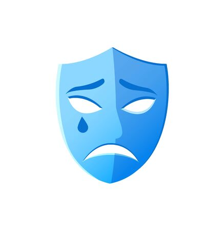 Depressed face on mask vector, theater isolated icon drama performance, unhappy disguise with tear drop, pantomime and classical tragedy play weeping