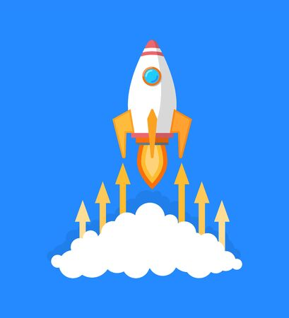 Startup and business solution vector, isolated icon of launching rocket leaving clouds of smoke. Fire and flames with arrows pointing up, achievement Illusztráció