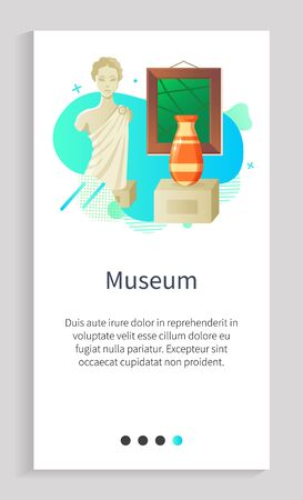 Museum historical or modern objects, sculpture portrait view of woman, vase and picture, stone architecture, gallery in frame and shiny bowl vector. Slider for museum app history application Иллюстрация