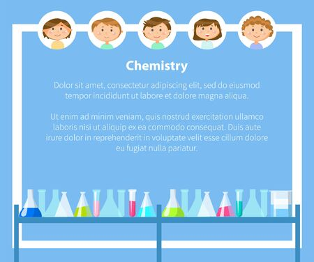 Chemistry classes, pupils poster with text vector. Schoolboy and schoolgirl in frames, chemical substance, laboratory lab with substances in glasses