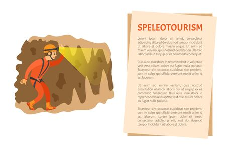 Man wearing helmet with light going in cave, male insurance going in antre, side view of person in orange suit, extreme or dangerous tourism vector Ilustração