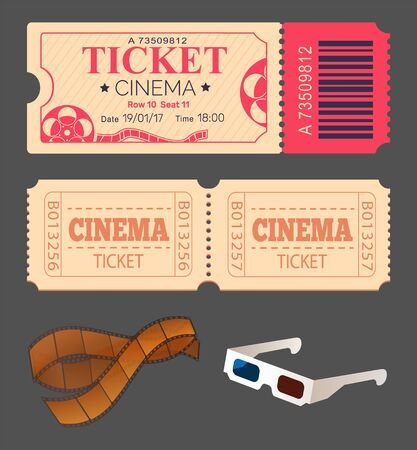 Tickets allowing to see play in theatre vector, admission to cinema hall for watching movies, 3d glasses for special effects and shots in reel isolated set