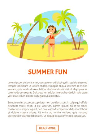 Summer fun, smiling girl with flower in hair, child standing on sand in swimsuit holding towel on back, mountain landscape, palm trees vector. Website or webpage template, landing page Illustration