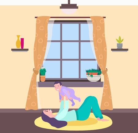 Motherhood and childhood vector, woman at home playing with child flat style. Interior of room, windows and curtains, vase and houseplant flora in pot