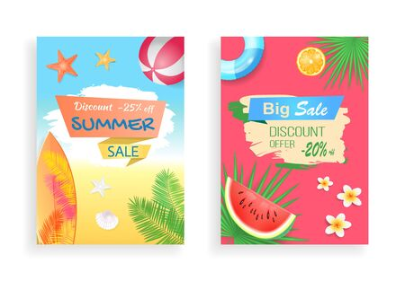 Big summer sale, discount offer vector curved ribbon. Watermelon and orange piece, inflatable ring, palm leaf, surfboard and ball, flower and starfish Illusztráció