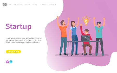 Startup new idea concerning business vector. Businessman sitting by table with laptop, looking at screen, IT development success and achievement. Website or webpage for start up, landing page flat Çizim
