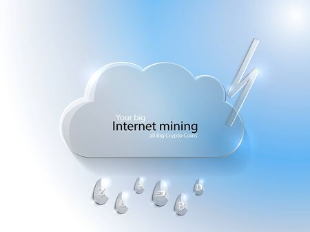Your big internet mining, all crypto coins, cloud and lightning symbols on blue, bitcoin, dash, ethereum sign, web cash, e-commerce element decorations, payment vector. Mining hub from website