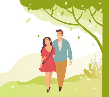 Young people walk in green spring or summer park, smiling cartoon characters. Vector brunette woman in dress and smiling handsome guy in blue jacket
