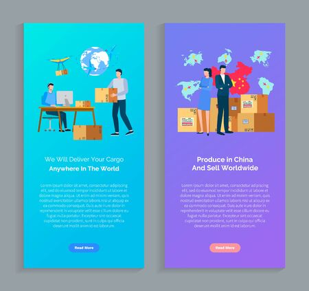 Produce in China and sell worldwide vector, we deliver your cargo to any country service with parcels and shipment. Businessman and woman with packages Illustration
