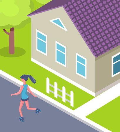 Femme faisant du patin à roues alignées près de la maison, activité dans la cour, vue arrière d'une fille portant des vêtements de sport, vue rapprochée du chalet avec fenêtres, herbe verte et arbre vecteur