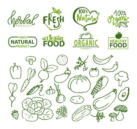 Vegetables and organic food logotypes vector, pepper and pumpkin, aubergine and avocado, banana and radish, cabbage with leaves sketches logo set, food stikers for vegetarian menu
