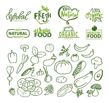 Vettore di logotipi di verdure e alimenti biologici, pepe e zucca, melanzane e avocado, banana e ravanello, cavolo con foglie schizzi logo set, adesivi alimentari per menu vegetariano