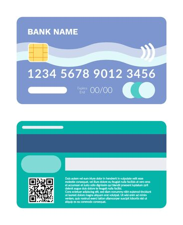 Credit and debit card vector, isolated icon of plastic item with numbers and special code, financial object to pay and shopping, finance and capital