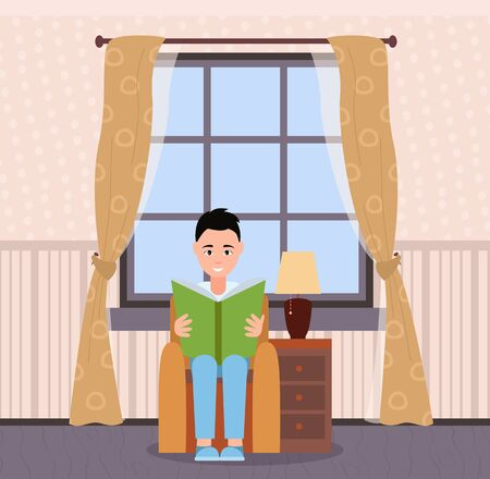 Man with book at home vector, person having calm day. Room interior, chamber with armchair and drawers, lamp and curtains on big window, large apartment Çizim