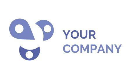 El vector de su empresa, logotipo aislado de la corporación, icono aislado de estilo plano de marca. Puntero de ubicación e inscripción con diseño morado. Logos