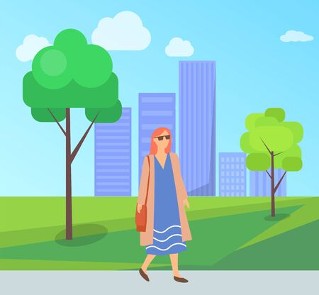 Pretty woman on walk in city park, female in sunglasses, long blue dress having fun outdoors. Vector fashionable lady in summer or spring cloth walking on nature