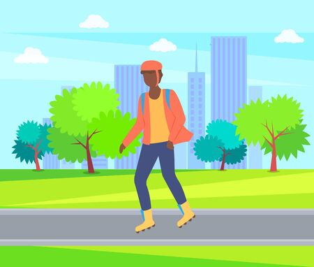Boy rollerblading in casual clothes, man wearing helmet in city park, trees and buildings. Vector person character going in rollerskates, urban activity