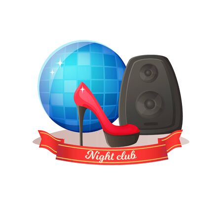 Disco ball and speaker equipment, high heel shoe, night club modern objects with ribbon. Discotheque icons, party elements, audio and fashion signs vector